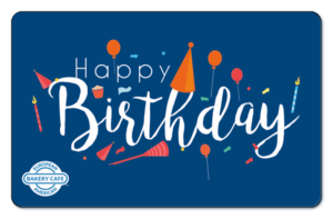 Decorative Happy Birthday text on a solid blue background.