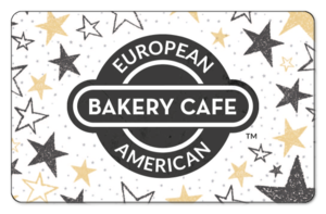 Large European American Bakery logo surrounded by black and yellow stars on a white background.
