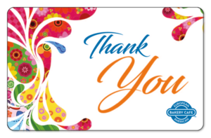 Decorative Thank You script surrounded by a floral pattern.